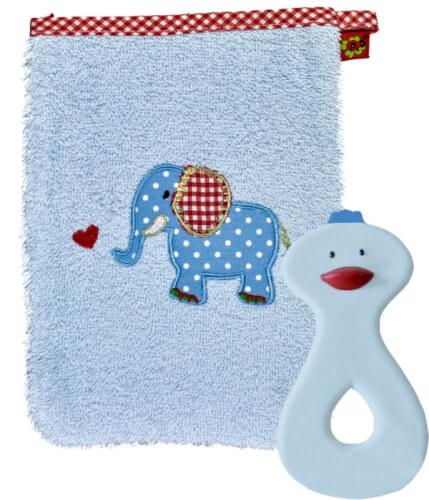 Die Spiegelburg - Geschenkset Waschhandschuh und Beißring hellblau, BabyGlück, ab 3 Monaten