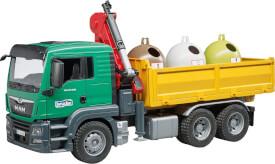 Bruder 03753 MAN TGS LKW mit Ladekran, 3 Altglascontainern und Flaschen